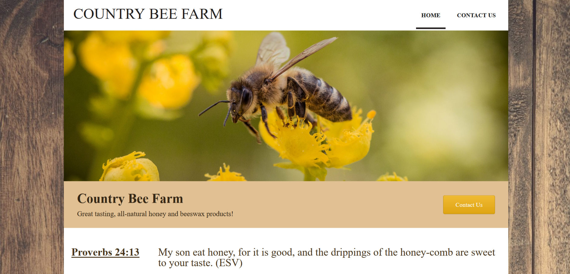 Country Bee Farm Website